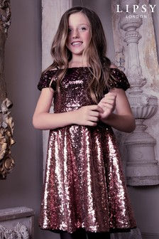 Lipsy Girl Ombre Sequin Puff Sleeve Dress