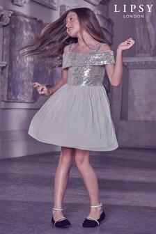 Lipsy Girl Silver Sequin Bodice Dress