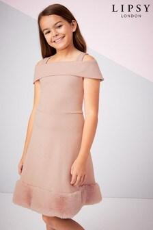 Lipsy Girl Faux Fur Hem Dress
