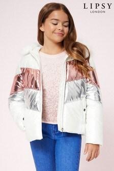 Lipsy Girl Hi Shine Chevron Padded Jacket