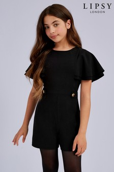 Lipsy Girl Gold Button Frill Sleeve Playsuit