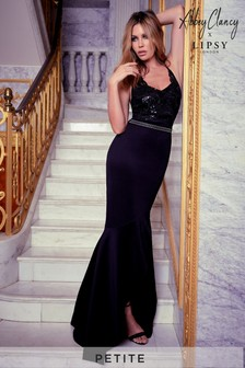 Abbey Clancy x Lipsy Petite Sequin Artwork Trim Maxi Dress
