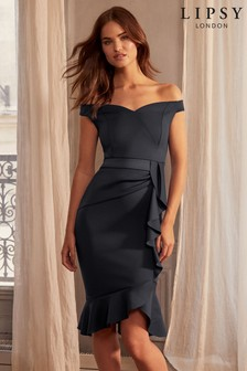 Lipsy Ruffle Bardot Satin Panel Bodycon Dress