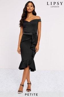 Lipsy Petite Ruffle Bardot Satin Panel Bodycon Dress