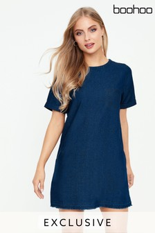 Boohoo Slouch Pocket Denim Dress