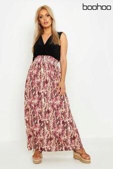 Boohoo Curve Snake Print Plunge Slinky Maxi Dress