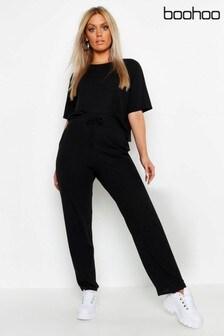 Boohoo Curve Soft Rib Basic T-Shirt & Trouser Co-ord