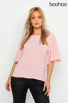 Boohoo Curve Angel Sleeve Fit & Flare Top