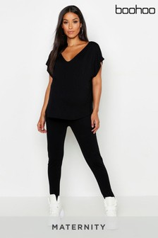 Boohoo Maternity V neck Boxy Top Lounge Set