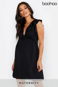 Boohoo Maternity Ruffle V neck Dress