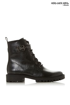 Head Over Heels Lace Up Buckle Detail Worker Boots