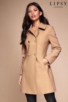 Короткое приталенное пальто в стиле милитари из шерстяной смеси Lipsy