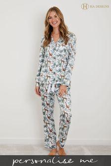 Personalised Luxe Satin Long Sleeve Pyjama Set by HA Design