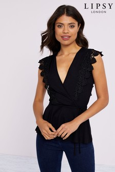 Lipsy Guipure Lace Wrap Top