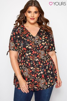 Yours Curve Print Tea Top
