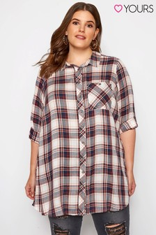 Yours Curve Check Boyfriend Shirt