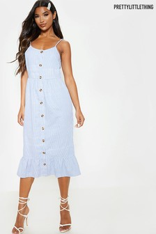 PrettyLittleThing Striped Wooden Button Frill Midi Dress