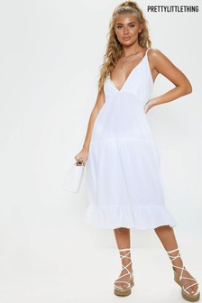 PrettyLittleThing Midi Tiered Beach Dress