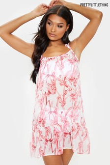 PrettyLittleThing Floral Strappy Frill Hem Mini Beach Dress