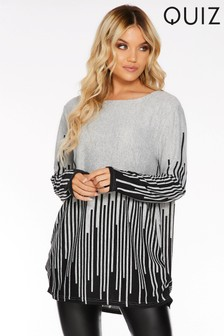 Quiz Light Knit Stripe Long Sleeve Top