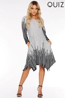 Quiz Light Knit Hanky Hem Long Sleeve Dress