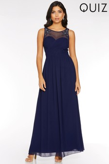 Quiz Mesh Embellished Sweetheart Neckline Maxi Dress