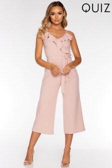 Quiz Frill Tie Waist Culotte Jumpsuit