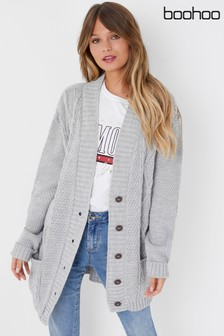 Boohoo Cable Knit Longline Cardigan