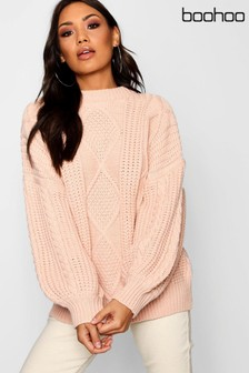 Boohoo Oversized Cable Knit Jumper