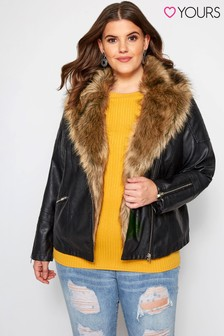 Yours Curve Faux Leather Fur Collar Jacket