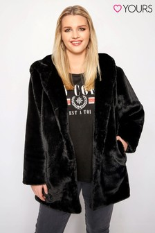 Yours Curve Hooded Faux Fur Jacket