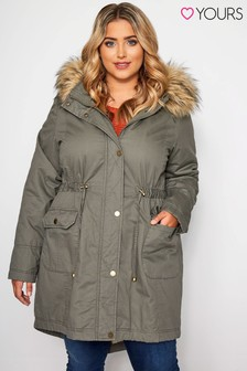 Yours Curve Fur Trim Parka Coat
