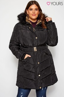 Yours Animal Luxe Fur Belt Parka Jacket