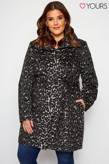 Yours Curve Animal Belted Coat