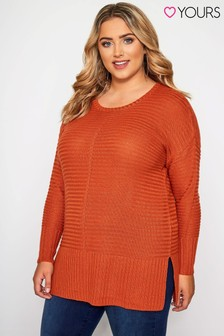 Yours Curve Raised Rib Jumper