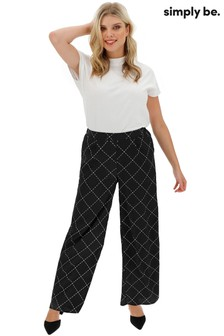 Simply Be Printed Crepe Wide Leg Trouser