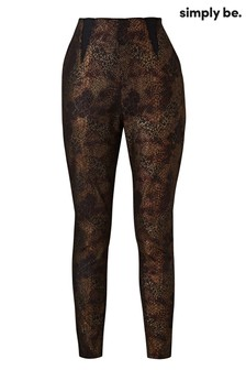 Simply Be Jeggings mit Schlangenmuster, Metallic