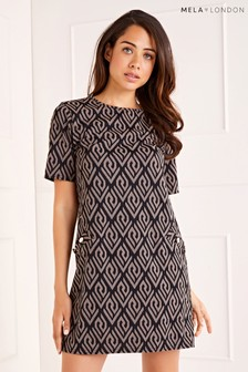 Mela London Geometric Print Side Button Shift Dress