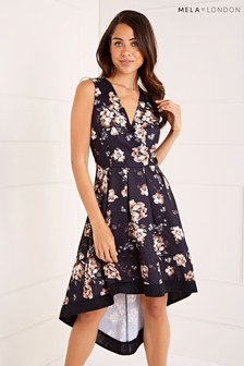 Mela London Wrap Front High Low Dress