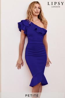 Abbey Clancy x Lipsy Ruffle Petite One Shoulder Flippy Hem Bodycon Dress