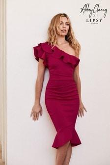 Abbey Clancy x Lipsy Figurbetontes One-Shoulder-Kleid mit Rüschen und schwingendem Saum