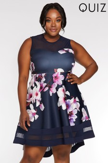 Quiz Curve Floral Dip Hem Dress