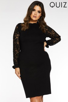 Quiz Curve Lace Sleeve Jumper Dress