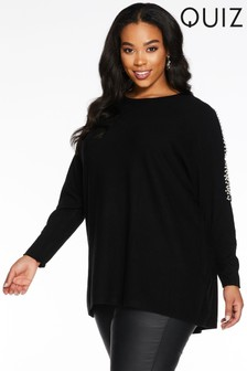 Quiz Curve Light Knit Lace Sleeve Jumper Dress