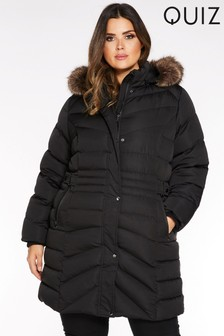 Quiz Curve Faux Fur Trim Padded Coat