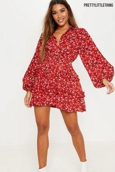 PrettyLittleThing Floral Print Shirt Dress