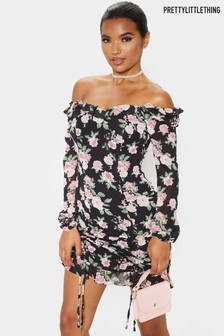 PrettyLittleThing Floral Ruched Mini Dress
