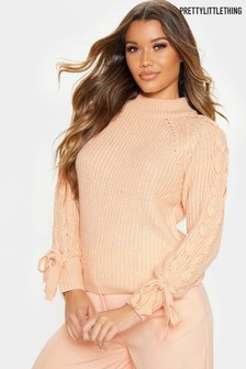 PrettyLittleThing Lace Up Sleeve Jumper