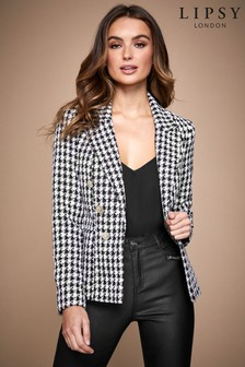 Abbey Clancy x Lipsy Textured Military Button Blazer