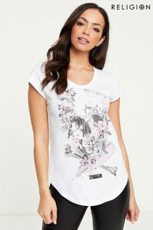 Religion T-Shirt mit Totenkopf- und Blumengrafik